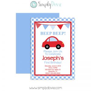 Little Red Car Birthday Invitation