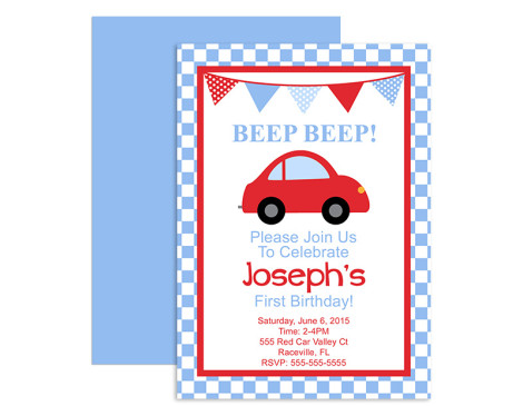 Little Red Car Birthday Invitations,invitations,invite,birthday,party,red car,car,boys,themed,theme,first year