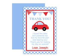 Little Red Car Birthday Thank You Card,thank you,cards,birthday,party,theme,car,red car,boys birthday,first year