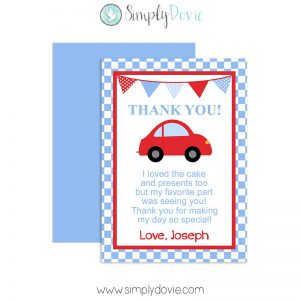 Little Red Car Birthday Thank You Card