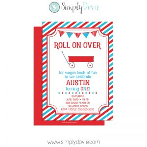 little red wagon,birthday,invitation,party,invite