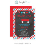 Little Red Wagon Birthday Invitation Chalkboard