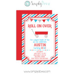 Little Red Wagon Birthday Invitation,invitation,wagon,birthday,party,theme