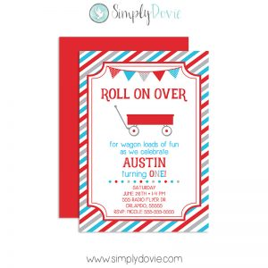 Little Red Wagon Birthday Invitation
