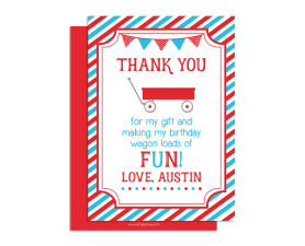 little red wagon,thank you card,birthday,thank you,card,party