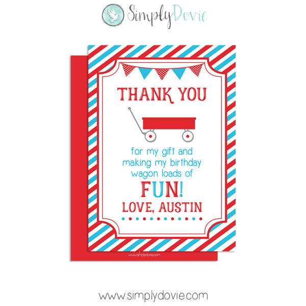Little red wagon birthday thank you little red wagonthank you cardbirthdaythank youcardparty bookmarktalkfo Gallery