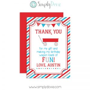 Little Red Wagon Birthday Thank You Card