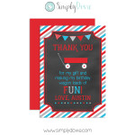 Little Red Wagon Birthday Thank You Card Chalkboard,thank you,wagon,birthday,party