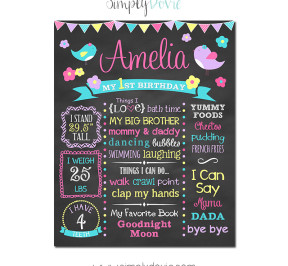 Little Bird Birthday Chalkboard,bird birthday party,birthday chalkboard,first birthday chalkboard,little birdie,little birdy,birthday,party,theme,girls birthday party,girls party,theme,chalkboard signs,
