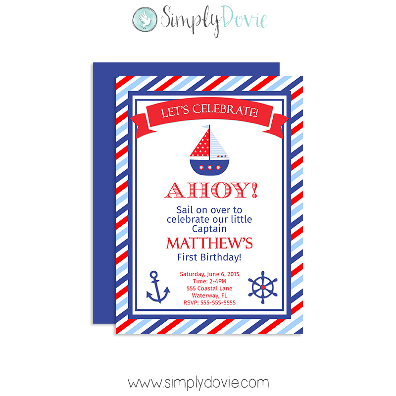 Nautical Birthday Invitations, Nautical Birthday Invites, Nautical Birthday Party