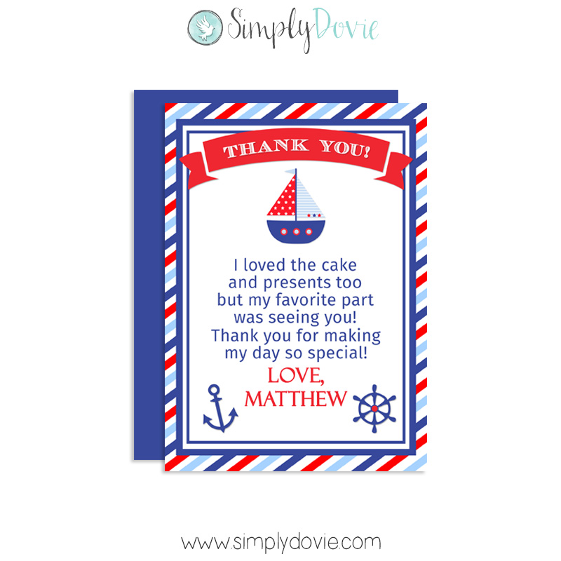 Nautical Birthday Thank You Card