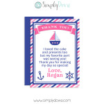 Nautical Thank You Cards,Nautical birthday,thank you,cards,party,birthday,theme,nautical,girls