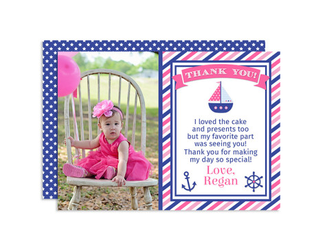 Nautical Thank You Cards, Nautical Birthday Thank You Cards, Nautical Birthday Party, Nautical Birthday
