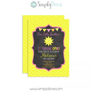 Simply Dovie Our Little Sunshine Chalkboard Invite