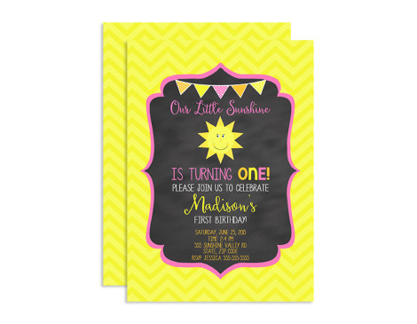 Our little sunshine,invitations,invites,birthday party,you are my sunshine,theme,girls,first year