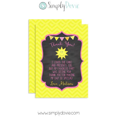 Our Little Sunshine Thank You Cards,thank you,sunshine,you are my sunshine,party,birthday,girls,theme,chalkboard