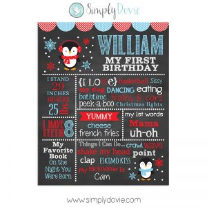 Penguin Birthday Chalkboard Poster, Penguin Birthday,First Birthday Chalkboard