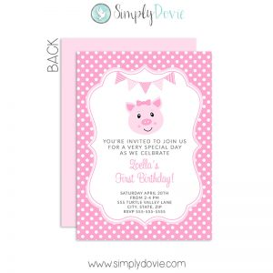 pig,birthday,party,invitations,theme,invites