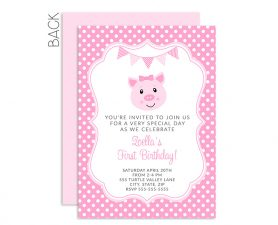 Pig Birthday Invitations