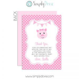 pig,thank you,party,birthday,cards,theme,piglet