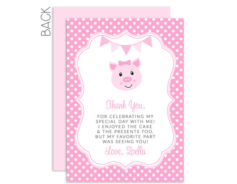 Pig Birthday Thank You Card