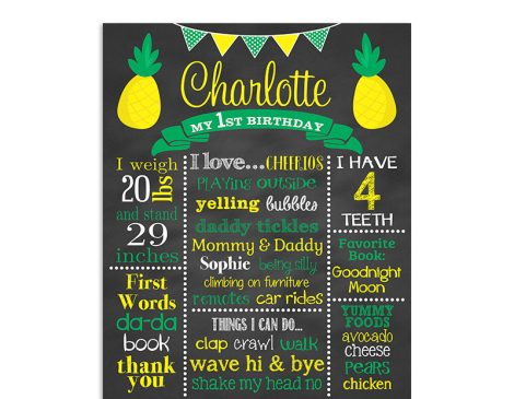 Pineapple Birthday Sign, Pineapple Birthday Chalkboard, Pineapple Birthday Party, Tropical Birthday