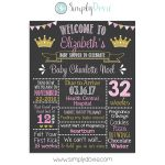 Princess Baby Shower Chalkboard Sign