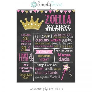 Princess Birthday Chalkboard,birthday chalkboard,first birthday chalkboard,princess birthday,princess party,poster,sign,chalkboard,birthday,theme