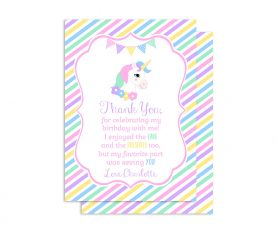 Rainbow Unicorn Birthday Thank You Card