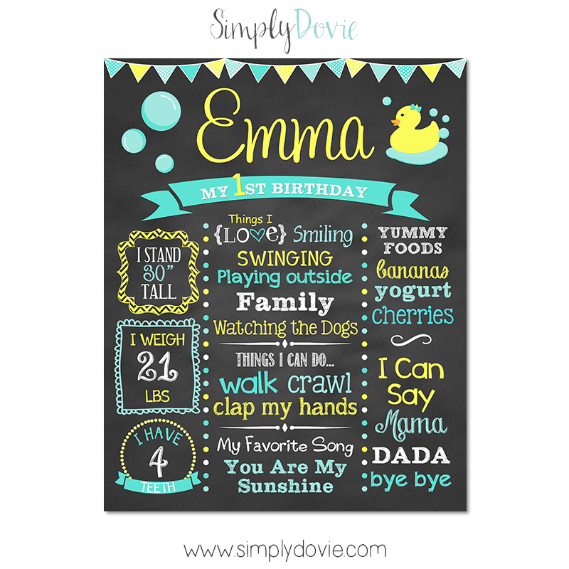 Chalkboard Rubber Ducky Birthday Theme