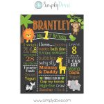 Safari Jungle First Birthday Chalkboard