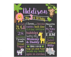 Safari Jungle Birthday Chalkboard