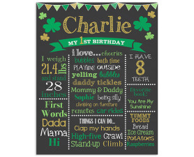St Patrick's Day Birthday,Birthday Chalkboard,Chalkboard Signs,Shamrock,Birthday decorations,party decorations
