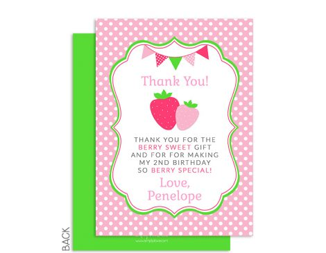 Strawberry Thank You Card, Strawberry Shortcake