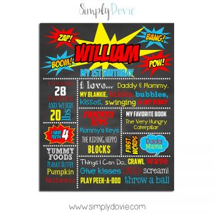 Super Hero First Birthday Chalkboard,first birthday chalkboard,birthday chalkboard,birthday,chalkboard,poster sign,super hero,party,theme,first birthday