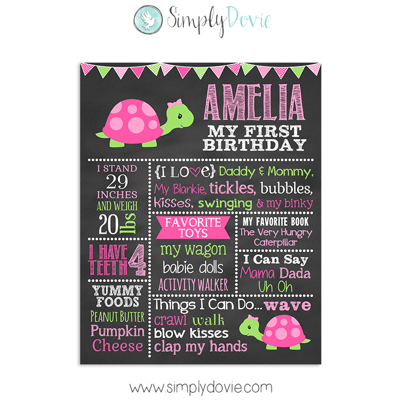 Cute Turtle Birthday Invitations