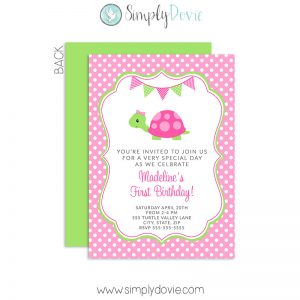 Simply Dovie Turtle Invitations Girl