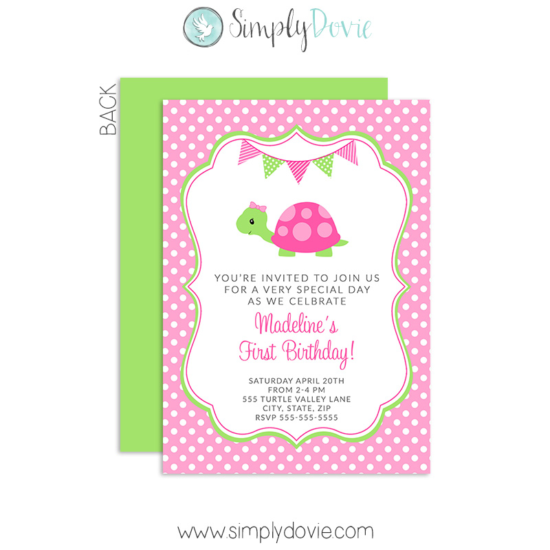 Cute Turtle Birthday Invitations – Turtle Birthday Invitations
