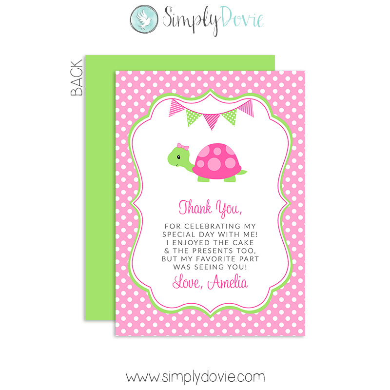 Cute turtle birthday thank you card bookmarktalkfo Image collections