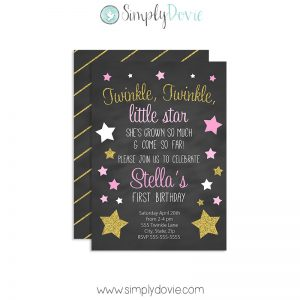 Twinkle Twinkle Little Star Birthday Invitations, Twinkle Little Star Birthday, Twinkle Little Star First Birthday