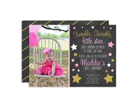 Twinkle Twinkle Little Star Birthday Invitations,invitations,birthday,party,theme,twinkle star,chalkboard,girls,first year birthday party,