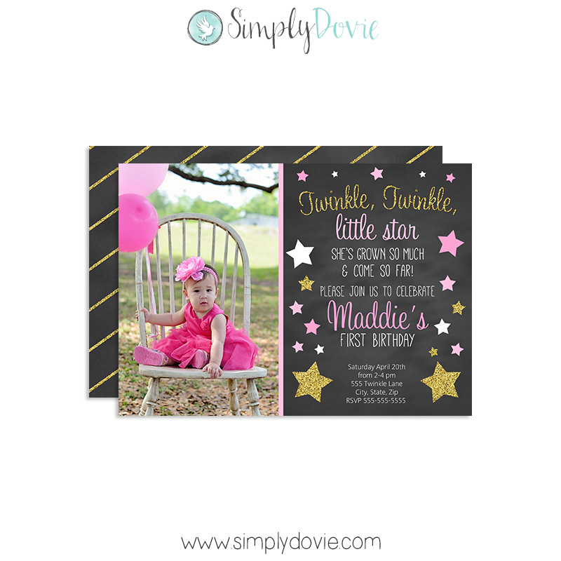 Twinkle Little Star Birthday Invitations