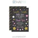 Twinkle Twinkle Little Star Birthday Thank You Card,twinkle little star,birthday,thank you,cards,party,theme,girls,first year,girl