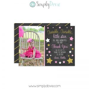 Twinkle Twinkle Little Star Birthday Thank You Card