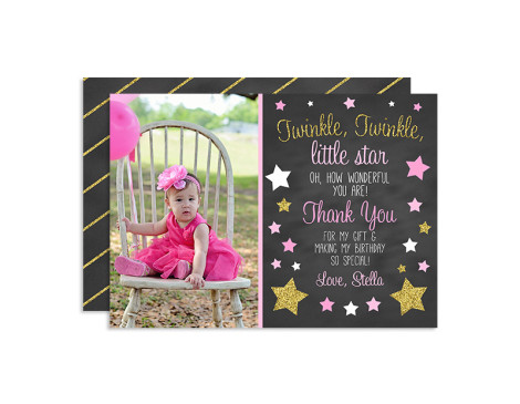 Twinkle Twinkle Little Star Birthday Thank You Cards, Twinkle Little Star Birthday, Twinkle Star First Birthday