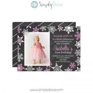 Winter Onederland Birthday Invitations,invites,invitations,birthday,party,first year,winter,onederland,wonderland,frozen,theme,snowflake,girls