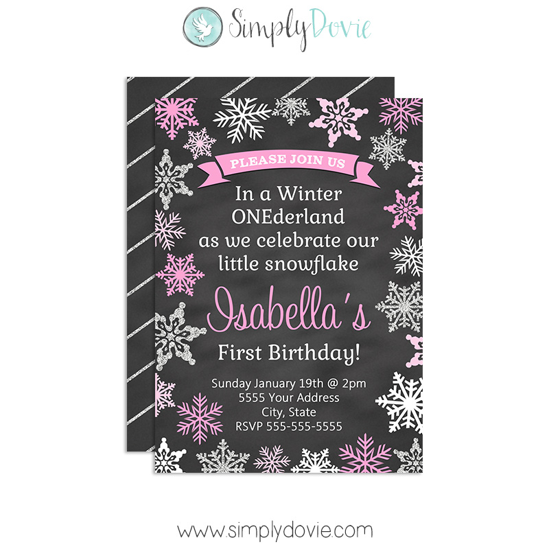 Winter ONEderland II Birthday Invitation