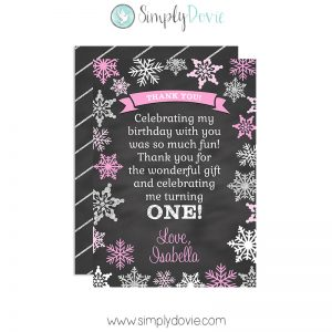 Winter Onederland Birthday Thank You Card