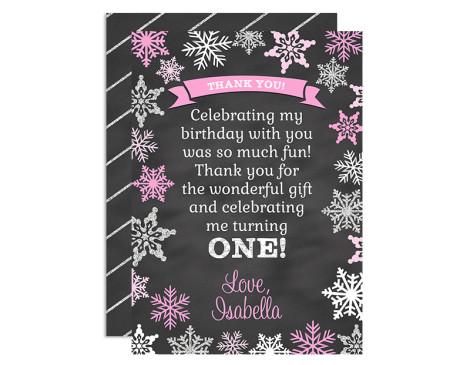 Winter Onederland Birthday Thank You Cards,winter,birthday,party,first year,girl,frozen,onederland,wonderland