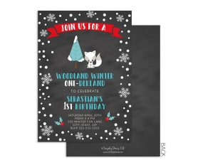 Winter Woodland Onederland Invitation
